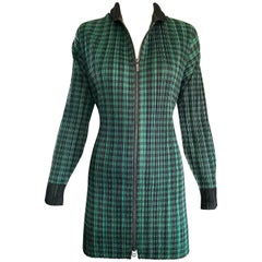 Vintage Issey Miyake Pleats Please 90s Green Black Checkered Jacket Mini Dress