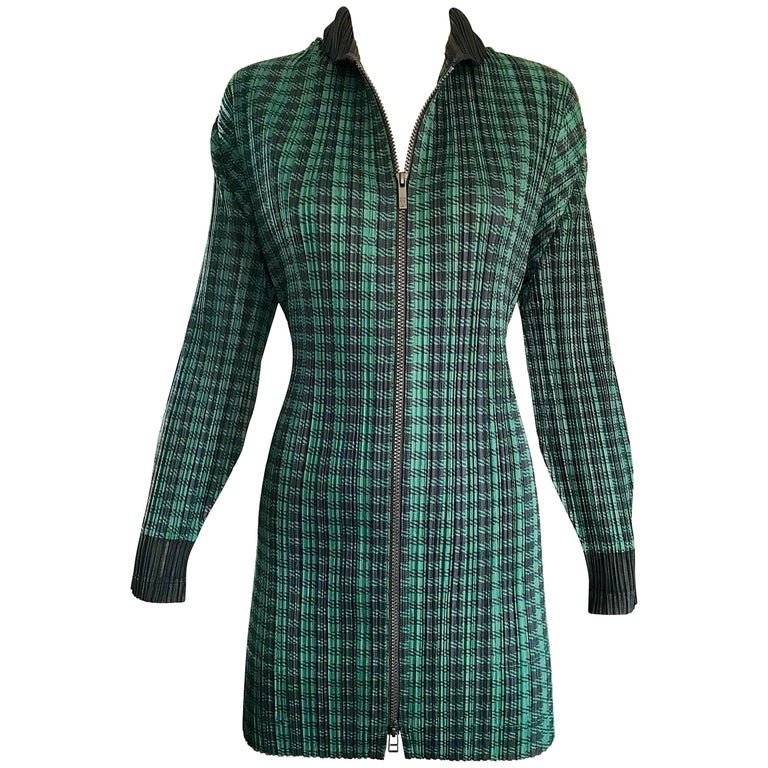 Vintage Issey Miyake Pleats Please 90s Green Black Checkered Jacket Mini Dress For Sale