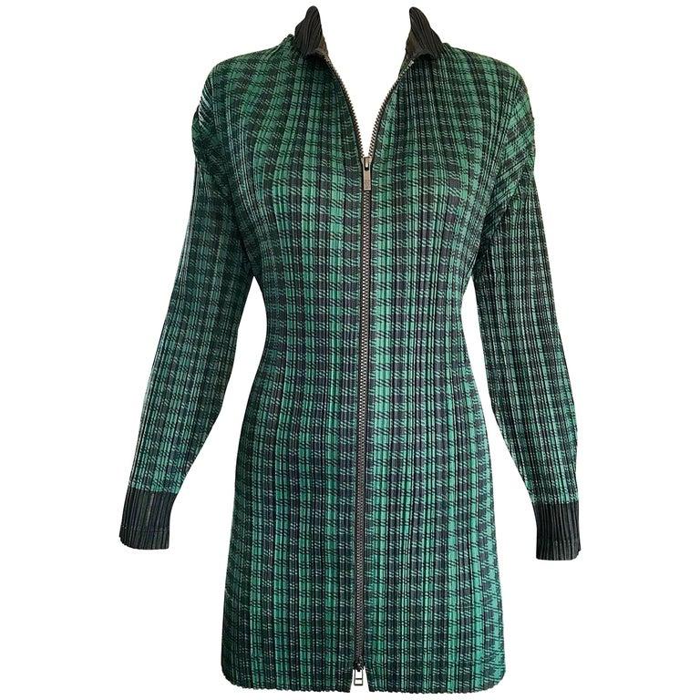 Vintage Issey Miyake Pleats Please 90s Green Black Checkered Jacket Mini Dress