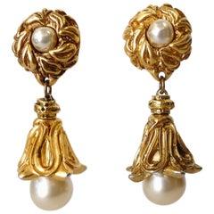 Unsigned 1980s Drop Pearl Earrings