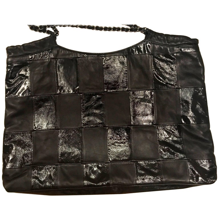 Chanel Purse - Black Lambskin / Patent Leather - XL For Sale