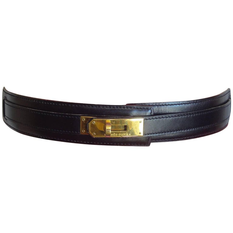 MINT. Vintage HERMES black box calf leather Kelly belt. Stamp S in O, 1989. 65cm For Sale