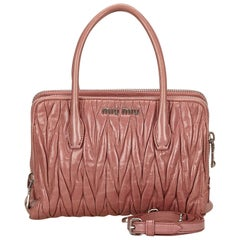 Miu Miu Pink Gathered Leather Handbag