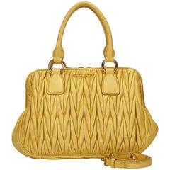 Miu Miu Yellow Gathered Leather Handbag