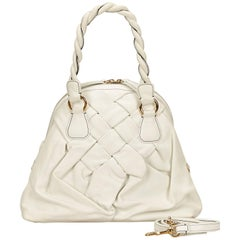 Valentino White Braided Leather Handbag