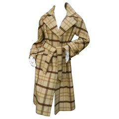 Neiman Marcus Luxurious Cashmere Plaid Belted Trench Coat c 1970