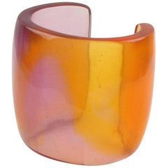 Designer Studio Oversized Resin Slave Cuff Bangle by Migeon & Migeon France 1980