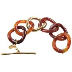 Kara by Kara Ross Tortoise Lucite & Gilt Metal Large Link Bracelet