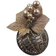 Gorgeous Vintage Floral Grey Resin Pin Brooch by Cilea Paris