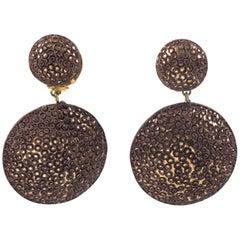 Fabrice Paris Oversized Dimensional Resin Dangling Clip Earrings