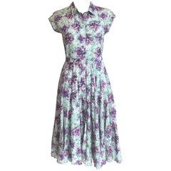 £1820 MARY KATRANTZOU 'Callaway' Floral Print Cotton Shirt Dress UK 8