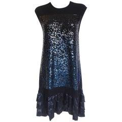 Louis Vuitton Pre-Fall 2012 Blue Sequin Ruffle Knit Dress L