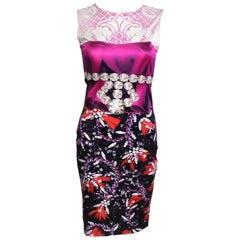MARY KATRANTZOU Pink Jewel Print Stretch Dress S