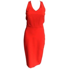 Victoria Beckham Fitted Jersey Racerback Dress Candy Red UK 10