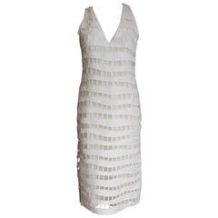 New Akris Netted-Overlay Sleeveless Dress Swiss 34 uk 8