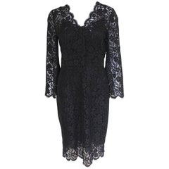 New £1983 Dolce and Gabbana Black Lace Overlay Dress Italian 44 uk 12