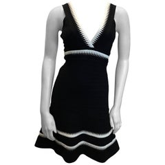 Herve Leger Black Sleeveless Fit And Flare Dress