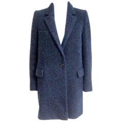 New Isabel Marant Etoile Daphne Navy Wool-Blend Coat F 34 uk 6