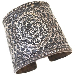 Antique Moroccan Berber Silver Cuff / Studded Bracelet