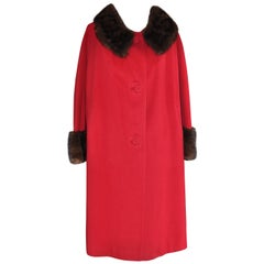 1950s Queen's Ransom Hand Tailored by Ronnie Cashmere Coat with Mink Trim
