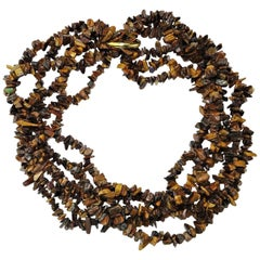 Multi Strand Brown Chatoyant Tiger's Eye Necklace