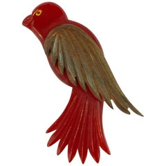 1930s Red Bakelite and Wood Laminated and Carved Bird Pin Brooch