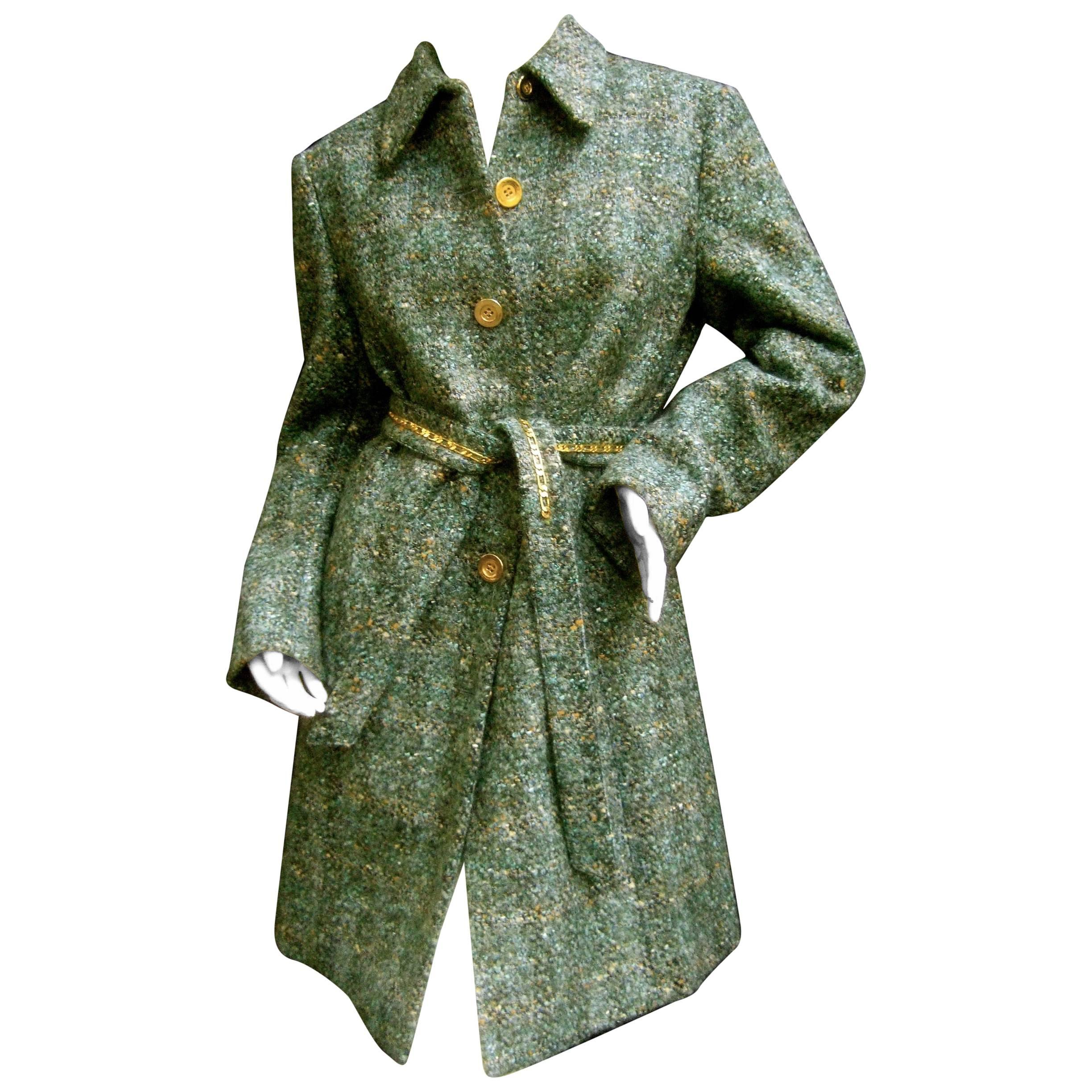 Worth Chunky Wool Knit Gilt Button Belted Coat US Size 8