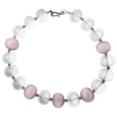 Quartz Crystal and Rose Quartz Chunky Necklace