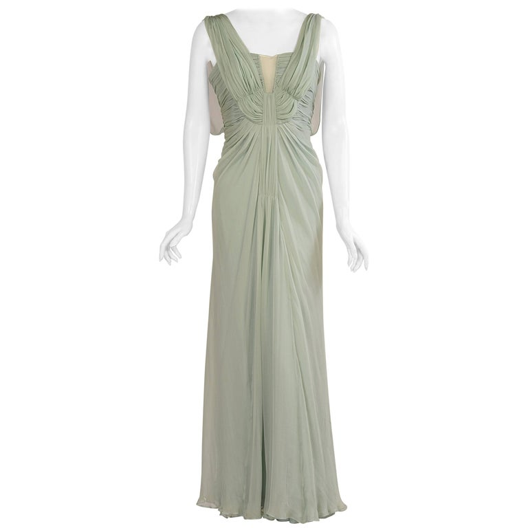 Alberta Ferretti Sea Green Silk Chiffon Evening Gown, Never Worn
