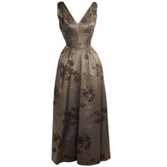 1950's Dior Inspired Charcoal Grey Silk Satin Gown Black Velvet Floral Motif