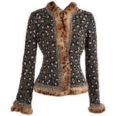 Oscar de la Renta Beaded Leopard Pattern Jacket with Stenciled Fur Trim