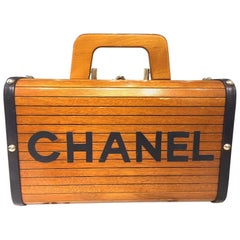 Limited Chanel Brown Wooden Box Handbag