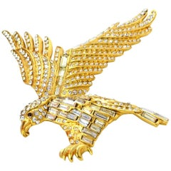 Chanel Gold & Crystal Eagle Brooch Pin