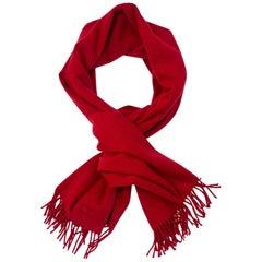 Hermes Red Cashmere Fringe Scarf