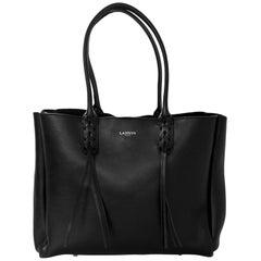 Lanvin Black Leather Fringe Tote Bag