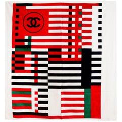 Chanel Red, White & Navy Cotton CC Scarf Shawl/Wrap