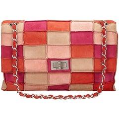 Chanel Multi Coloured Suede Patchwork Flap Shoulder Handbag