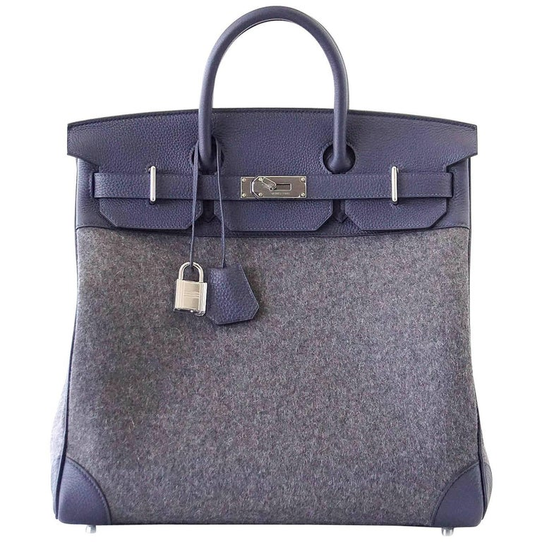 Hermes Birkin 40 Bag Hac Gris Moyen Grey Todoo Feutre Blue Nuit Togo Palladium