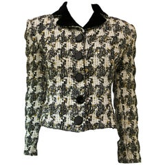 "Gianfranco Ferre Cropped Boucle ""Coco"" Jacket with Velvet Trim"