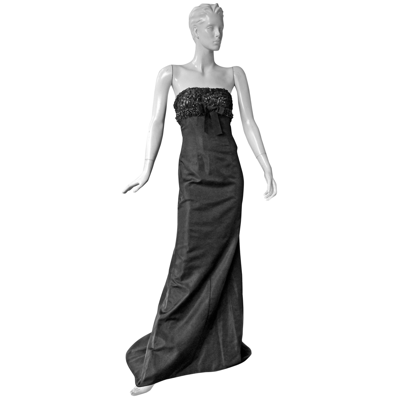 Giambattista Valli Strapless Embroidered Silk Gown  New!