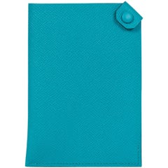 New Hermes Blue Paon Epsom Passport Holder