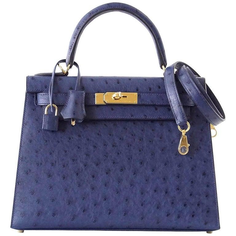 Hermes Kelly 28 Ier Bag Ostrich Blue Iris Gold Hardware For