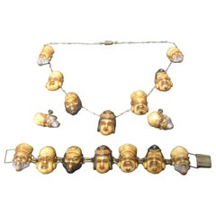 Seven Japanese Gods of Good Fortune Necklace Set c 1940s