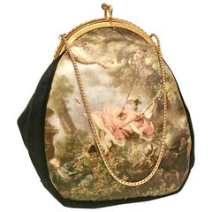 1960'S Italian Silk & Gilt Gold Printed Evening Bag