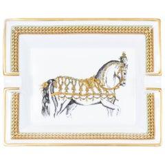 Hermes Gold Horse Porcelain Ashtray
