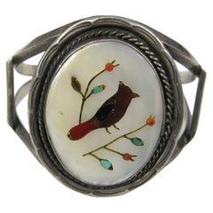 Pawn Southwestern Zuni Inlaid Turquoise Coral 1960s Bracelet
