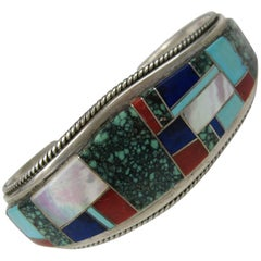 Native American Zuni Sterling Silver Turquoise Lapis Coral Cuff Bracelet