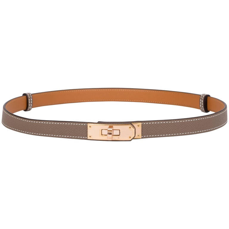 New Hermes Kelly Belt In Rose Gold And Etoupe At 1stdibs