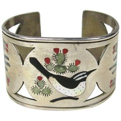 Zuni Sterling Silver Cut Out Bird Cactus Coral Mother of pearl Wide cuff