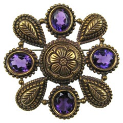 Sterling Silver Bronze Amethyst Brooch Stephen Dweck New, Never Worn 1990s